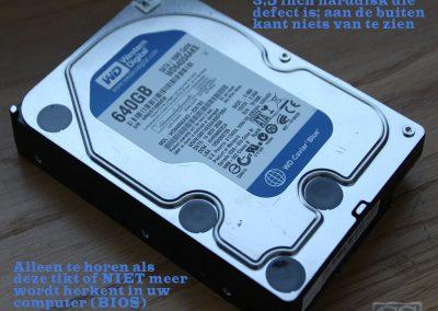 """Defecte 3,5"""" harddisk, niets te zien aan de buitenkant maar wel te horen"""